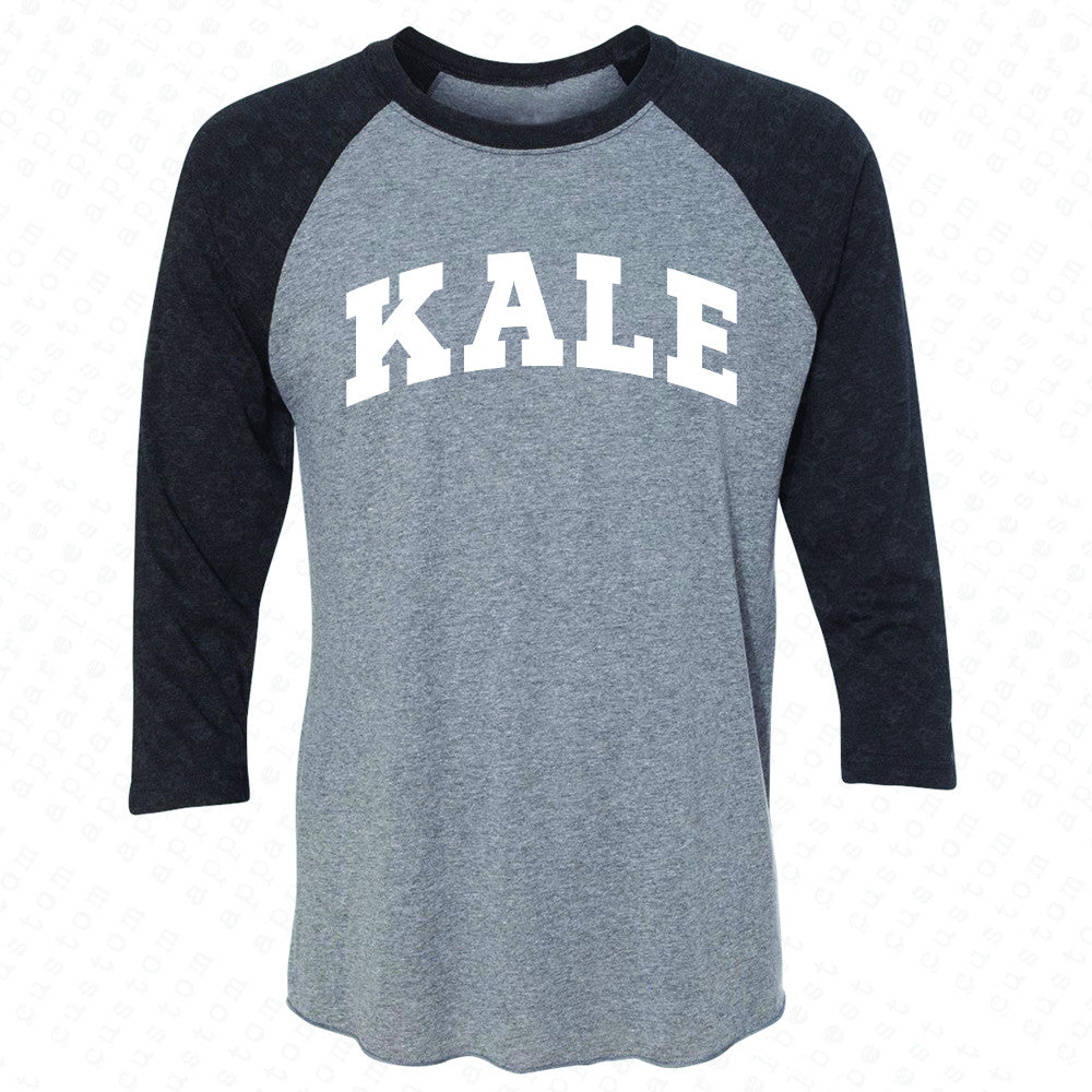 Kale WN University Gift for Vegetarian 3/4 Sleevee Raglan Tee Vegan Fun Tee - Zexpa Apparel - 1