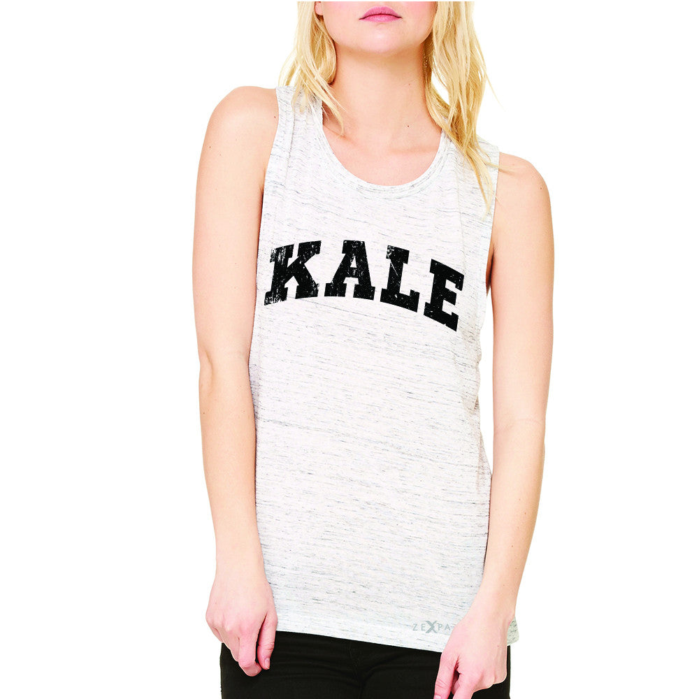 Kale W University Gift for Vegetarian Women's Muscle Tee Vegan Fun Sleeveless - Zexpa Apparel