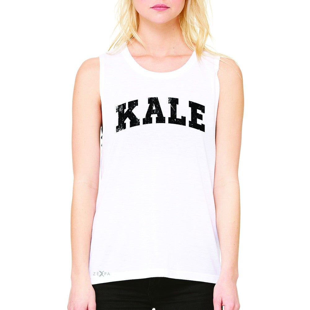 Kale W University Gift for Vegetarian Women's Muscle Tee Vegan Fun Sleeveless - Zexpa Apparel - 6