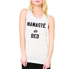 Zexpa Apparel™ Namaste in Bed Namastay Cool W Font  Women's Muscle Tee Yoga Funny Sleeveless - Zexpa Apparel Halloween Christmas Shirts