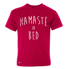 Zexpa Apparel™ Namaste in Bed Namastay Cool Happy D Font  Youth T-shirt Yoga Tee - Zexpa Apparel Halloween Christmas Shirts