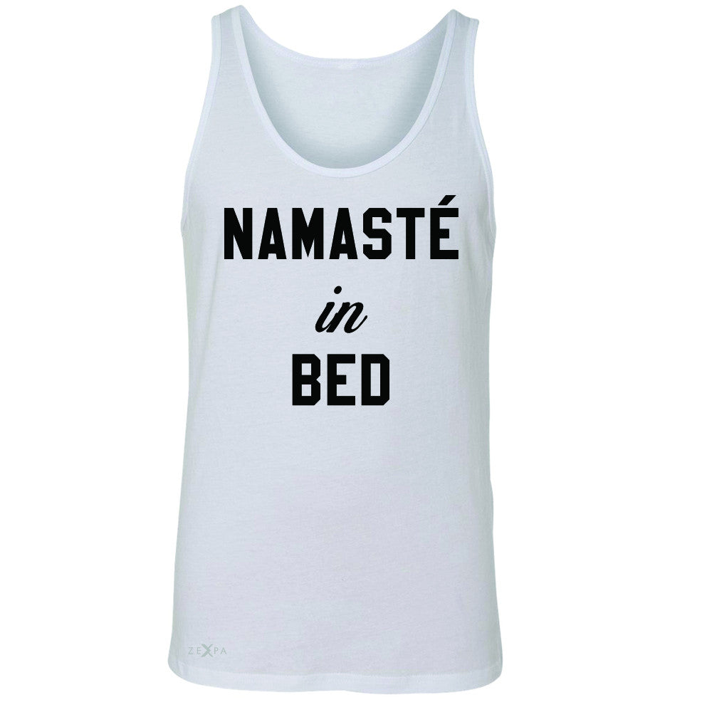 Zexpa Apparel™ Namaste in Bed Namastay Cool WD Font  Men's Jersey Tank Yoga Funny Sleeveless - Zexpa Apparel Halloween Christmas Shirts