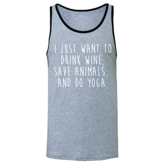 I Just Want To Drink Wine Save Animals Do Yoga Men's Jersey Tank   Sleeveless - Zexpa Apparel - 2