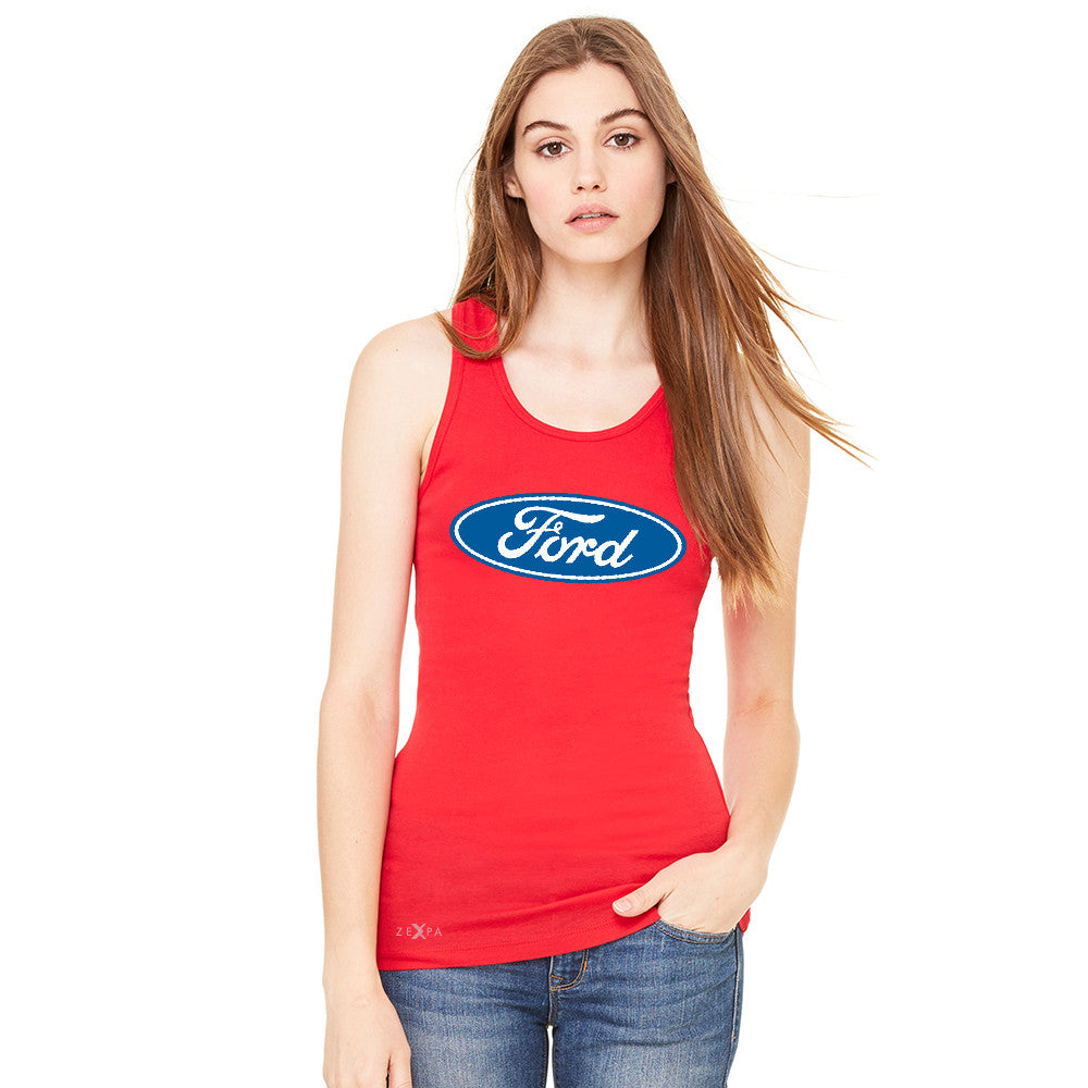 Built Tough Trucker Licensed Collective Women's Racerback Ford Sleeveless - Zexpa Apparel Halloween Christmas Shirts
