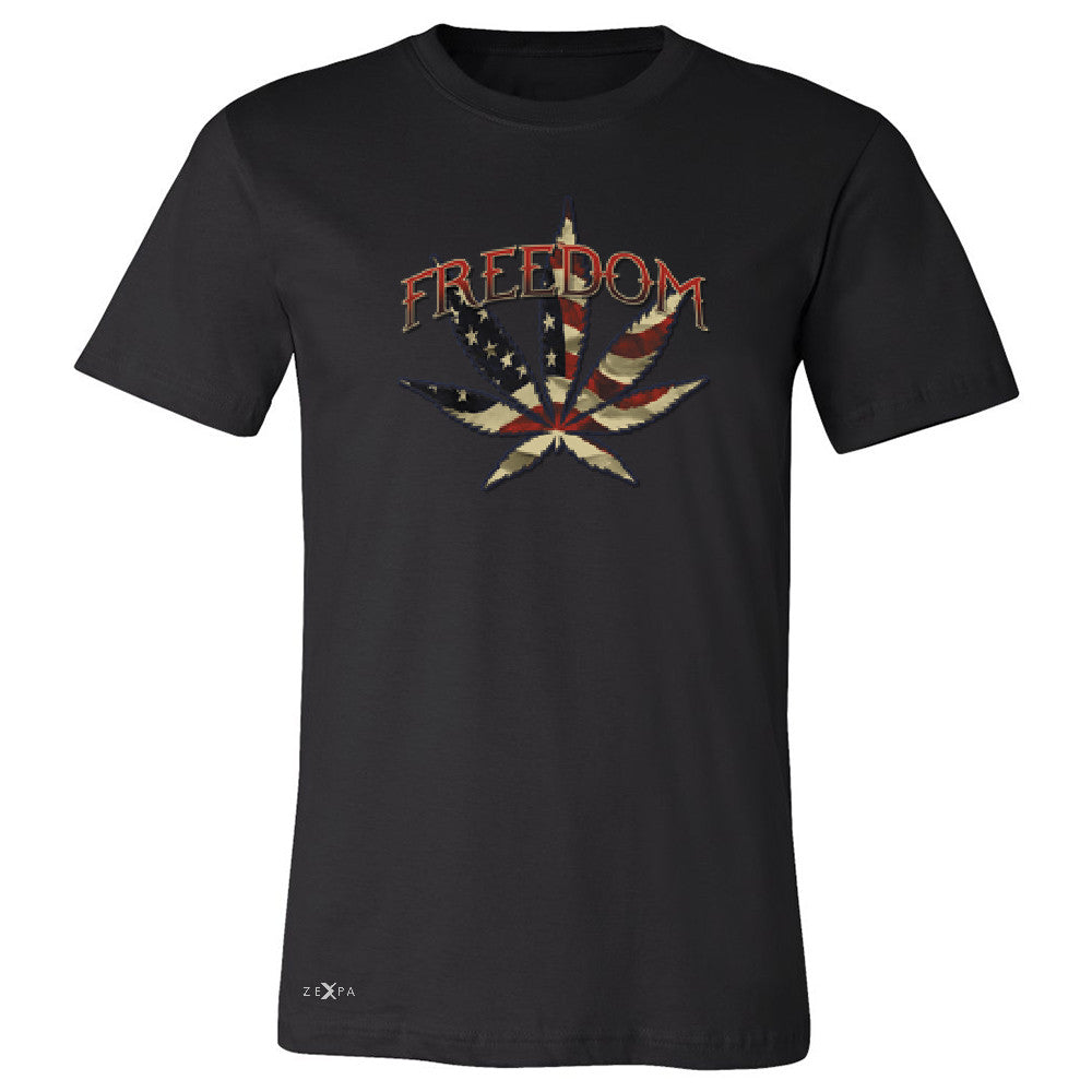 Freedom Weed Legalize It Men's T-shirt Old America Flag Pattern Tee - Zexpa Apparel - 1