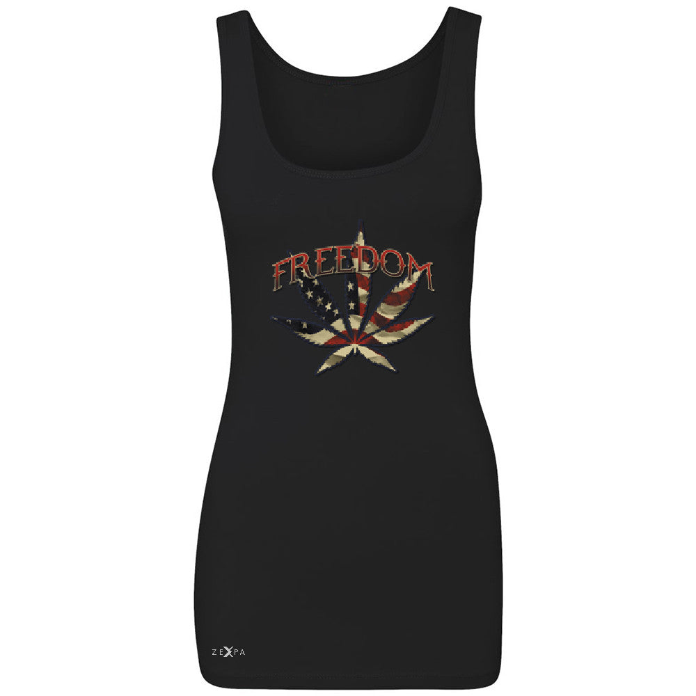 Freedom Weed Legalize It Women's Tank Top Old America Flag Pattern Sleeveless - Zexpa Apparel - 1