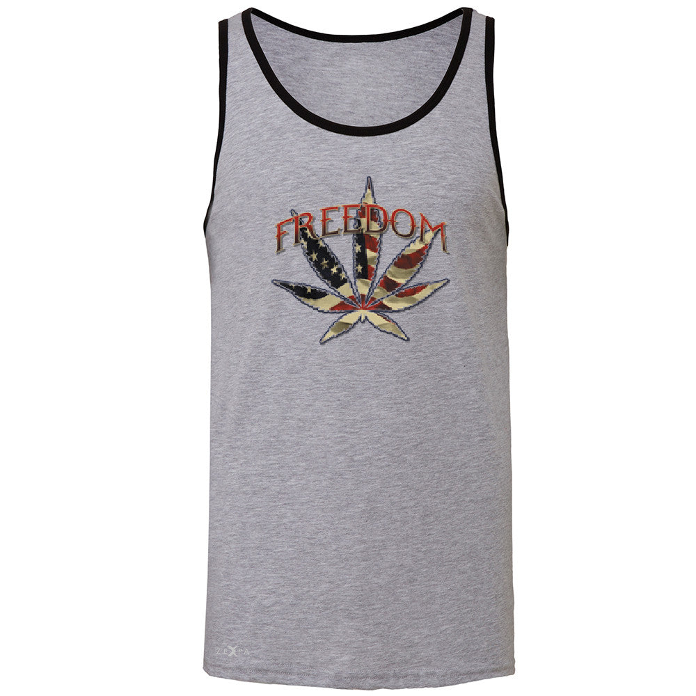 Freedom Weed Legalize It Men's Jersey Tank Old America Flag Pattern Sleeveless - Zexpa Apparel - 2