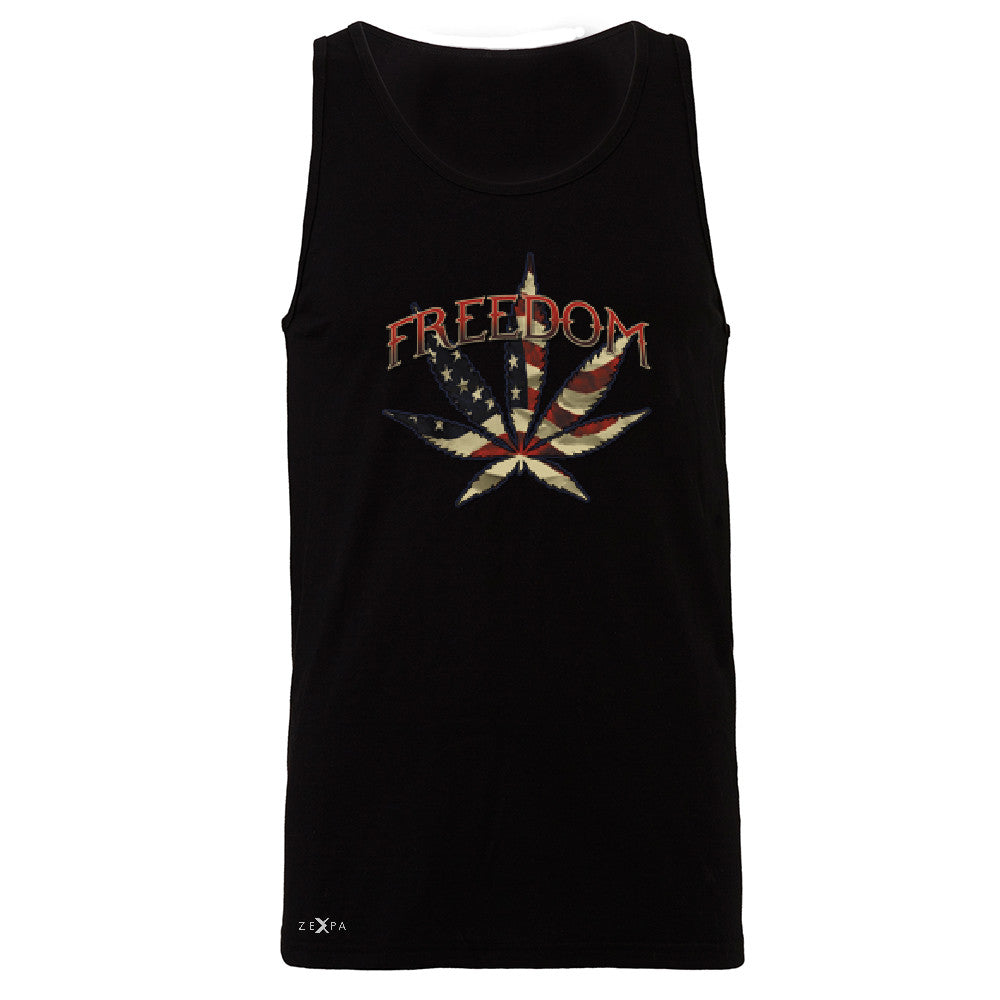 Freedom Weed Legalize It Men's Jersey Tank Old America Flag Pattern Sleeveless - Zexpa Apparel - 1