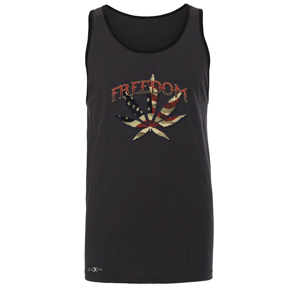 Freedom Weed Legalize It Men's Jersey Tank Old America Flag Pattern Sleeveless - Zexpa Apparel - 3