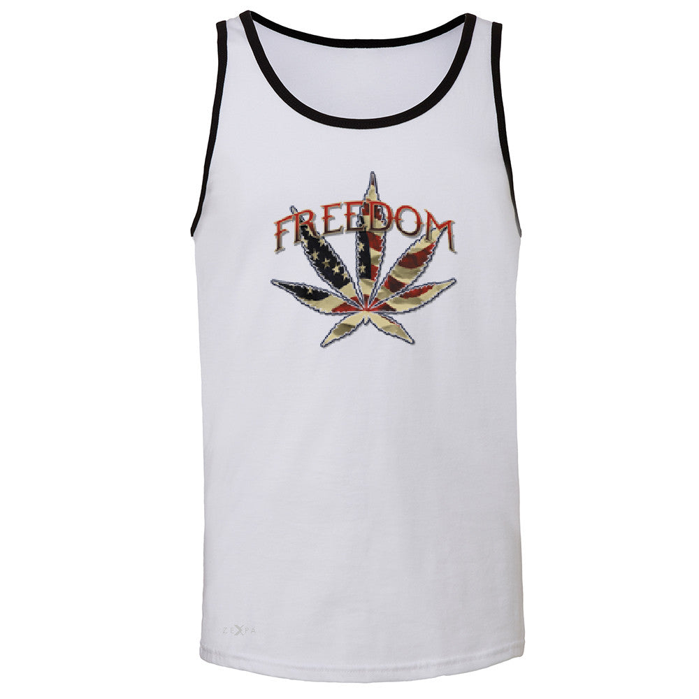 Freedom Weed Legalize It Men's Jersey Tank Old America Flag Pattern Sleeveless - Zexpa Apparel - 5