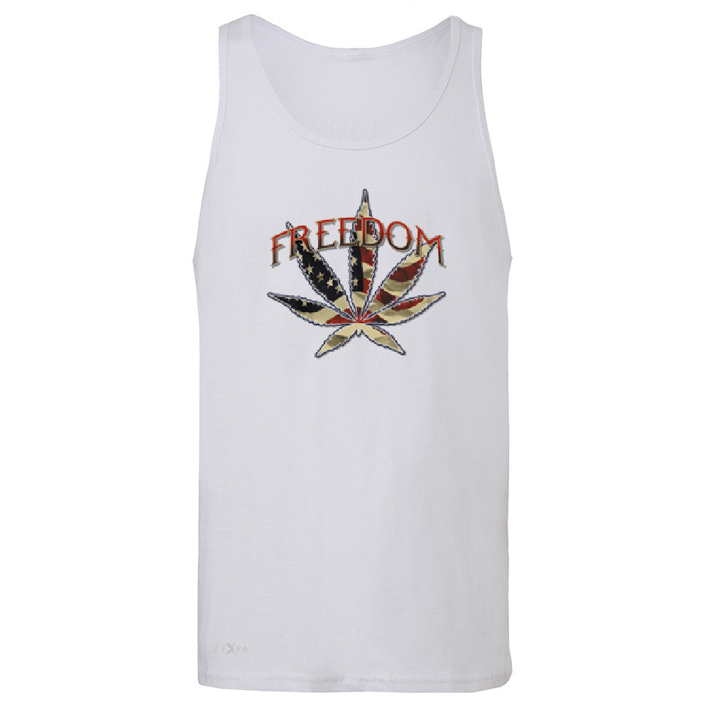 Freedom Weed Legalize It Men's Jersey Tank Old America Flag Pattern Sleeveless - Zexpa Apparel - 6