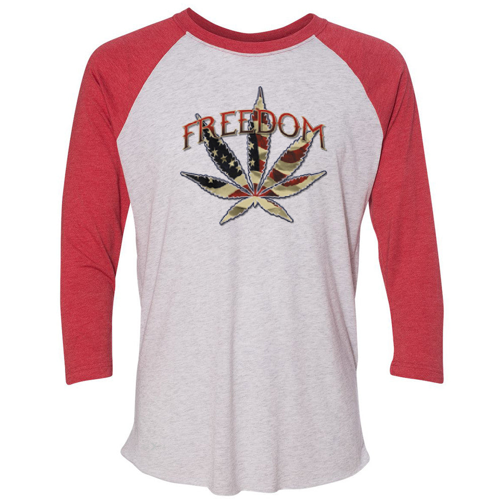 Freedom Weed Legalize It 3/4 Sleevee Raglan Tee Old America Flag Pattern Tee - Zexpa Apparel - 2
