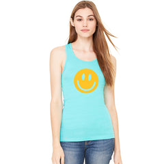 Funny Smiley Face Super Emoji Women's Racerback Funny Sleeveless - zexpaapparel - 5