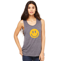 Funny Smiley Face Super Emoji Women's Muscle Tee Funny Sleeveless - Zexpa Apparel