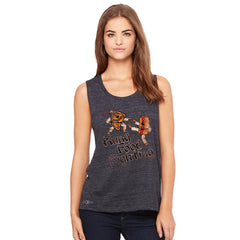 Kung Food Fighting Pizzas Kung Fu Women's Muscle Tee Funny Sleeveless - zexpaapparel - 2