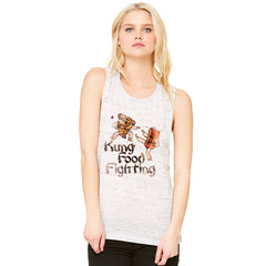 Kung Food Fighting Pizzas Kung Fu Women's Muscle Tee Funny Sleeveless - zexpaapparel - 3