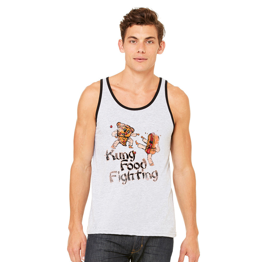 Kung Food Fighting Pizzas Kung Fu Men's Jersey Tank Funny Sleeveless - zexpaapparel - 1