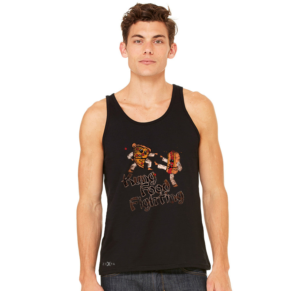Kung Food Fighting Pizzas Kung Fu Men's Jersey Tank Funny Sleeveless - zexpaapparel - 2