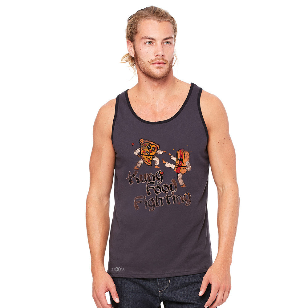 Kung Food Fighting Pizzas Kung Fu Men's Jersey Tank Funny Sleeveless - zexpaapparel - 4