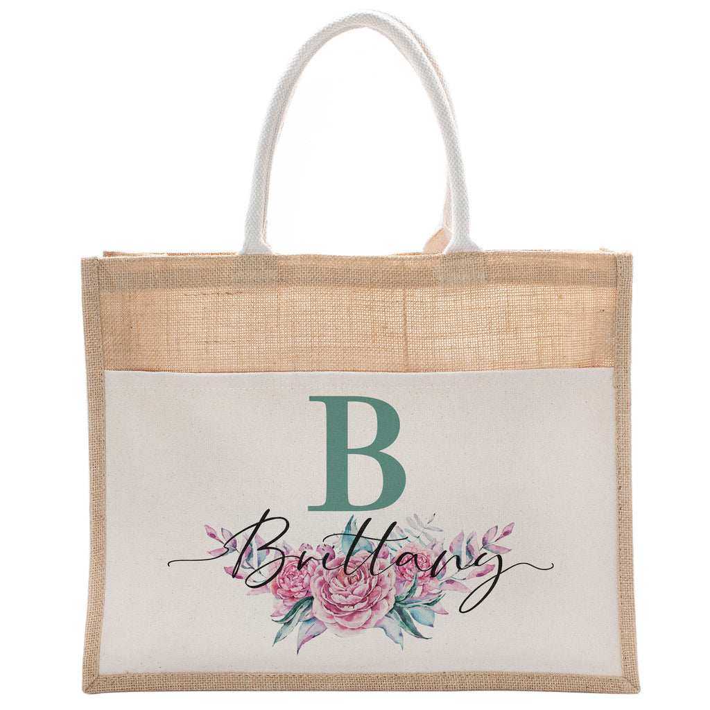 Personalized Luxury Totebag | Cusomized Floral Cotton Canvas Tote Bag For Bachelorette Party Beach Workout Yoga Pilates Vacation Bridesmaid and Daily Use Totes Design #9