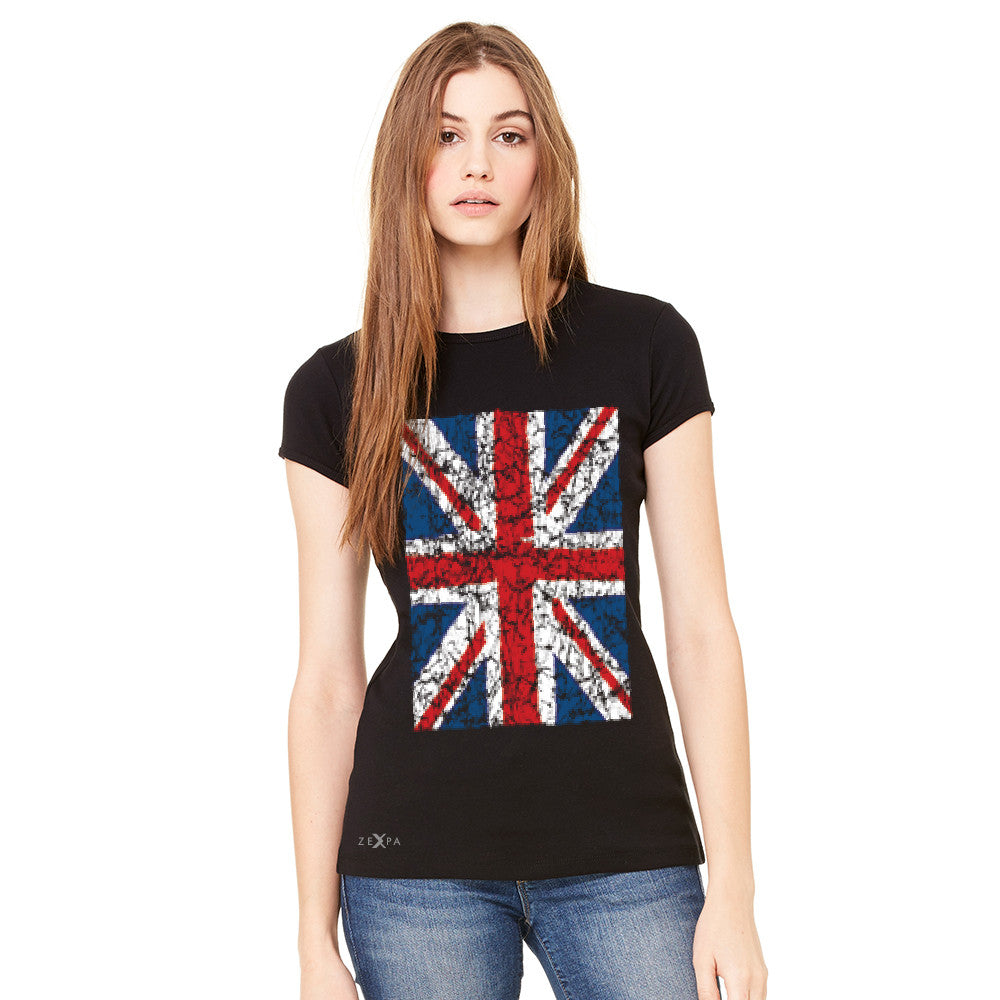 Distressed British Flag Great Britain Women's T-shirt Patriotic Tee - Zexpa Apparel - 4