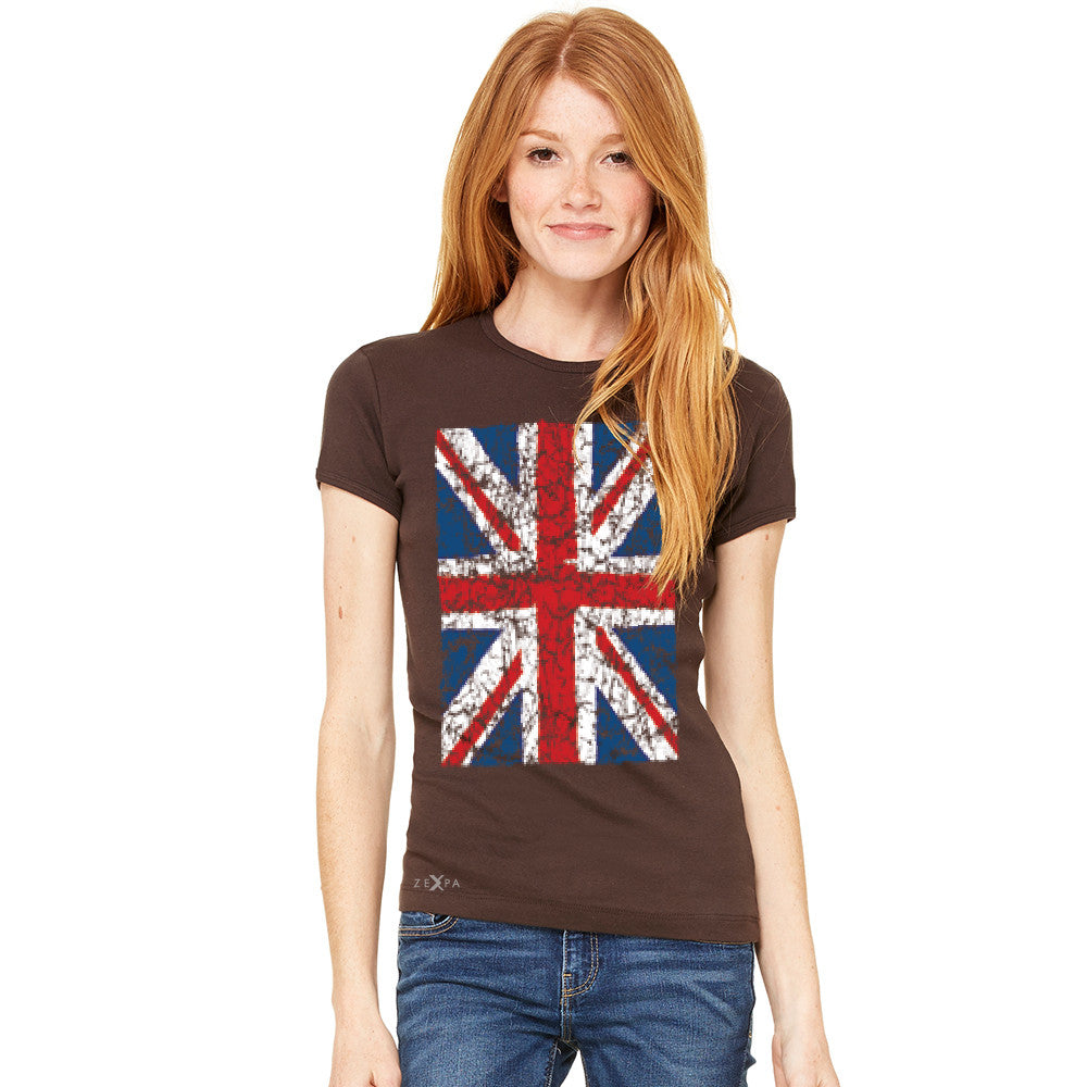 Distressed British Flag Great Britain Women's T-shirt Patriotic Tee - Zexpa Apparel Halloween Christmas Shirts