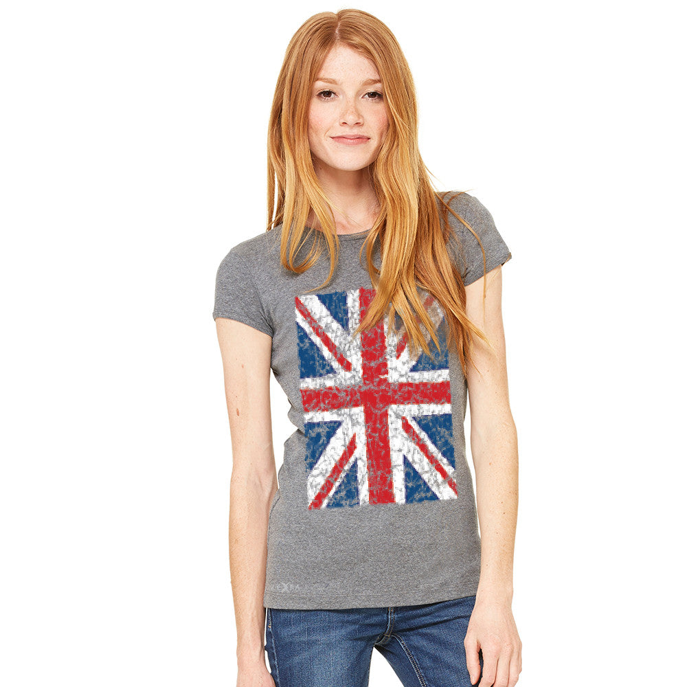 Distressed British Flag Great Britain Women's T-shirt Patriotic Tee - Zexpa Apparel - 5