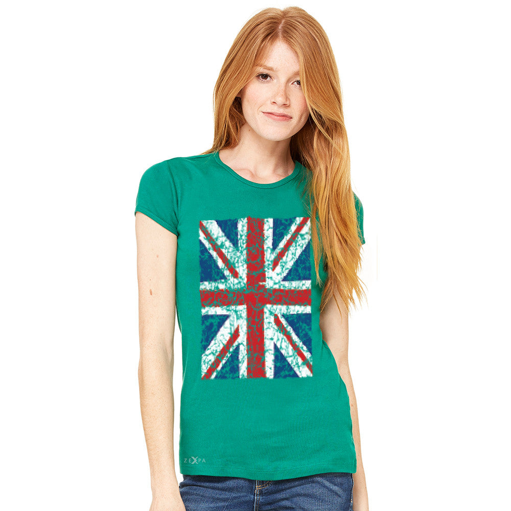 Distressed British Flag Great Britain Women's T-shirt Patriotic Tee - Zexpa Apparel - 7