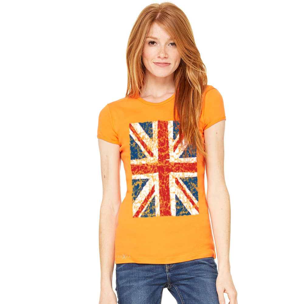 Distressed British Flag Great Britain Women's T-shirt Patriotic Tee - Zexpa Apparel - 8