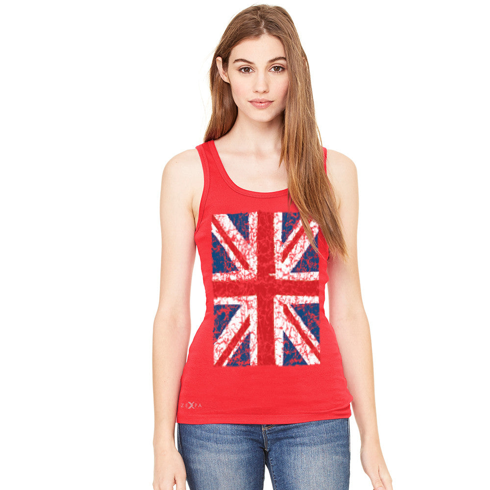 Distressed British Flag Great Britain Women's Tank Top Patriotic Sleeveless - Zexpa Apparel Halloween Christmas Shirts