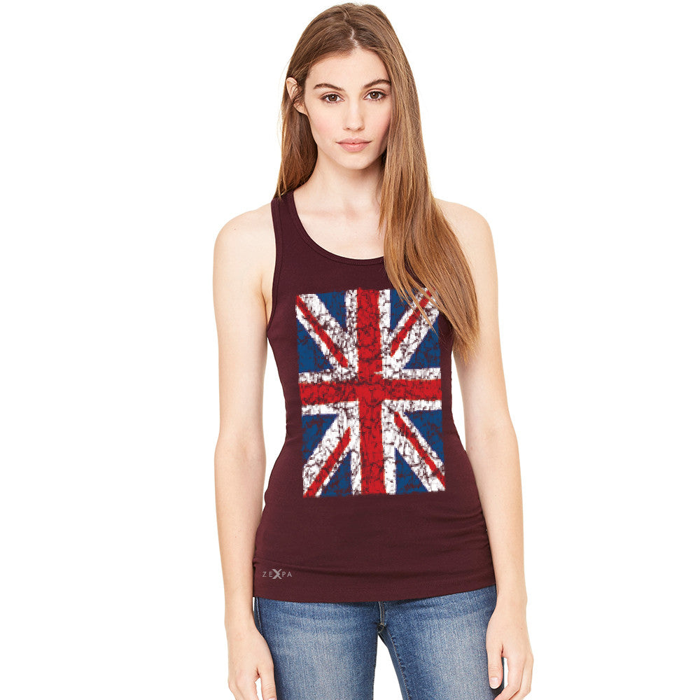 Distressed British Flag Great Britain Women's Racerback Patriotic Sleeveless - Zexpa Apparel Halloween Christmas Shirts