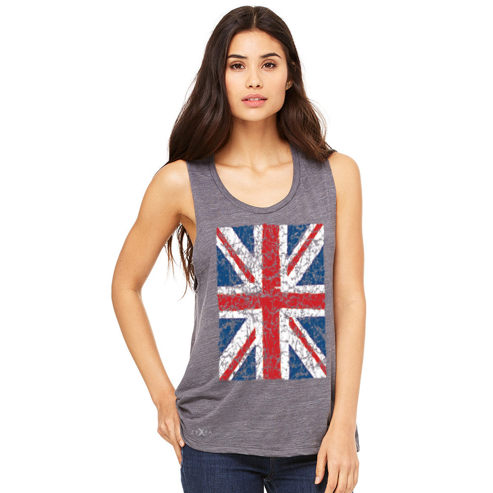 Distressed British Flag Great Britain Women's Muscle Tee Patriotic Sleeveless - Zexpa Apparel Halloween Christmas Shirts