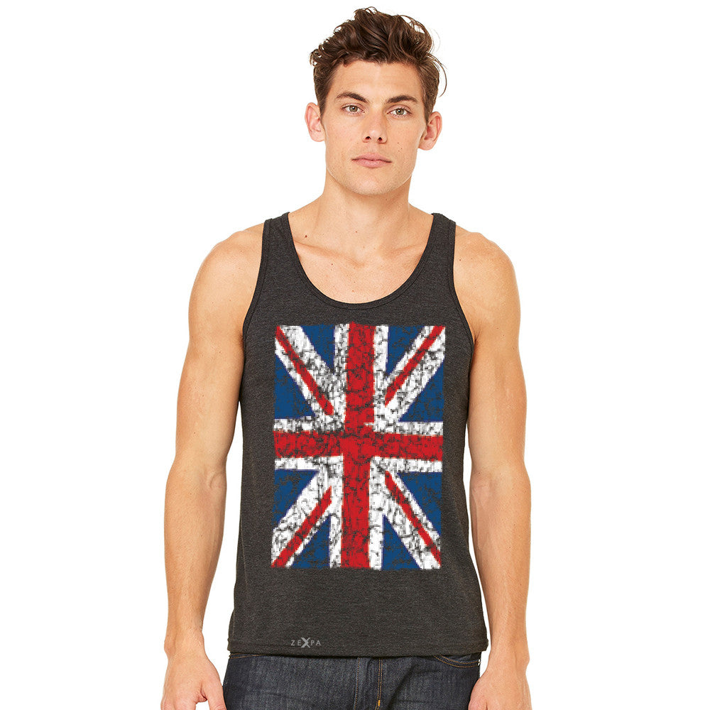 Distressed British Flag Great Britain Men's Jersey Tank Patriotic Sleeveless - Zexpa Apparel Halloween Christmas Shirts