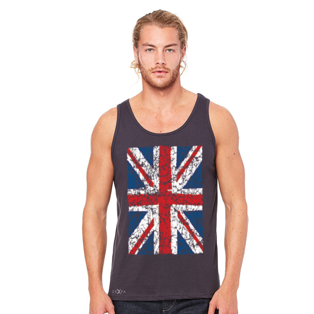 Distressed British Flag Great Britain Men's Jersey Tank Patriotic Sleeveless - zexpaapparel - 5