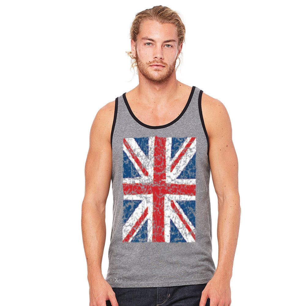 Distressed British Flag Great Britain Men's Jersey Tank Patriotic Sleeveless - zexpaapparel - 6