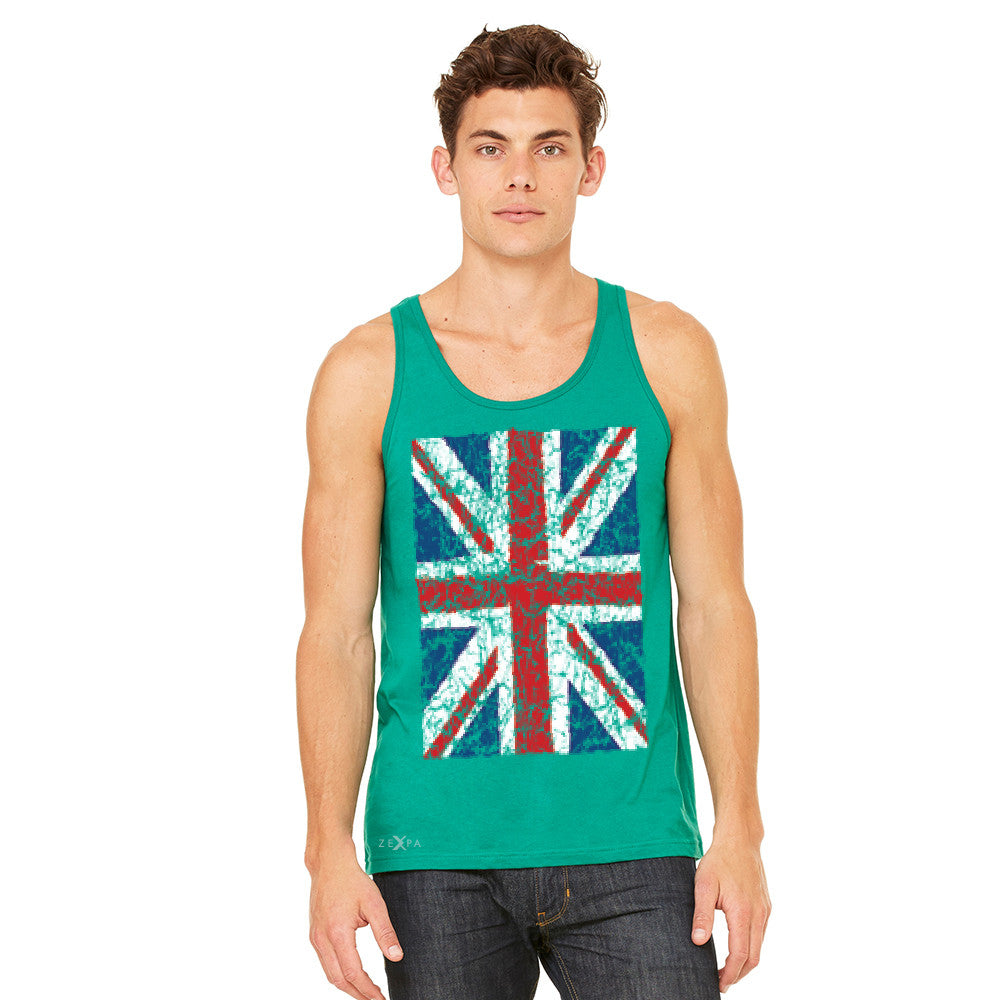 Distressed British Flag Great Britain Men's Jersey Tank Patriotic Sleeveless - zexpaapparel - 7