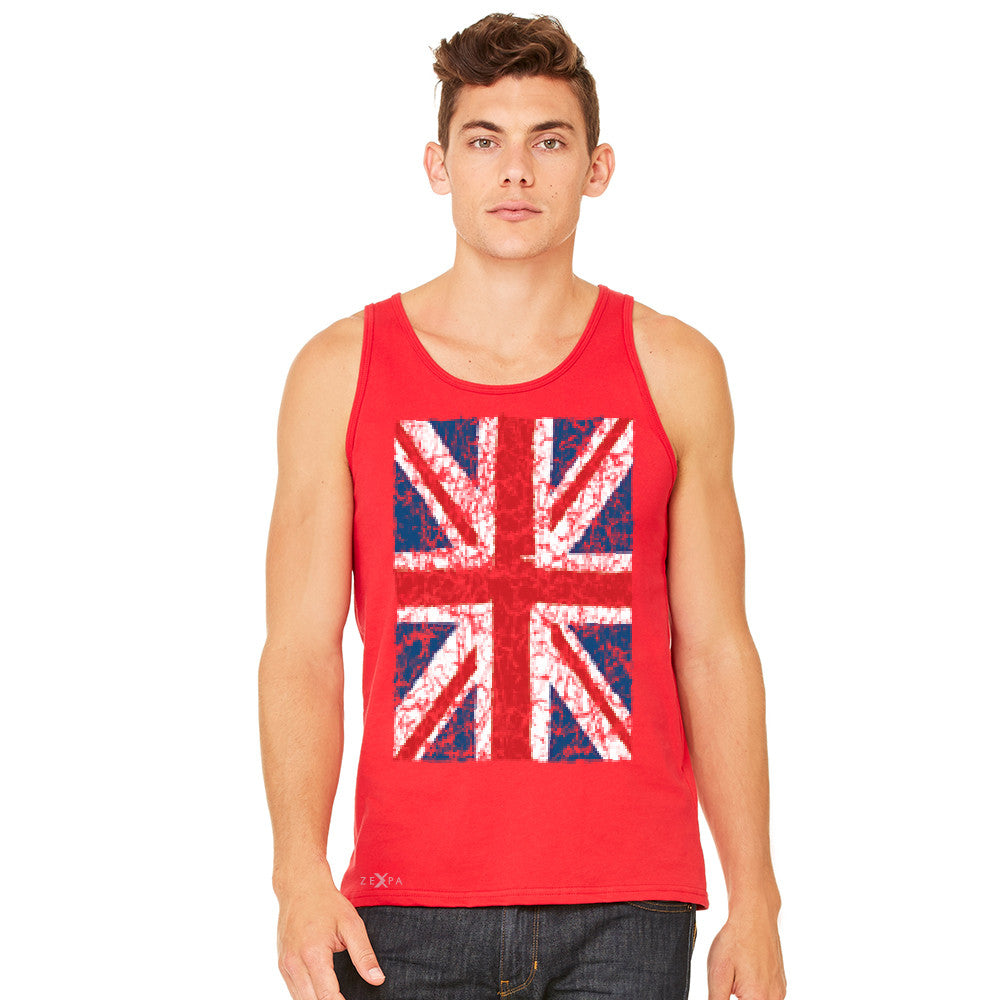 Distressed British Flag Great Britain Men's Jersey Tank Patriotic Sleeveless - zexpaapparel - 8