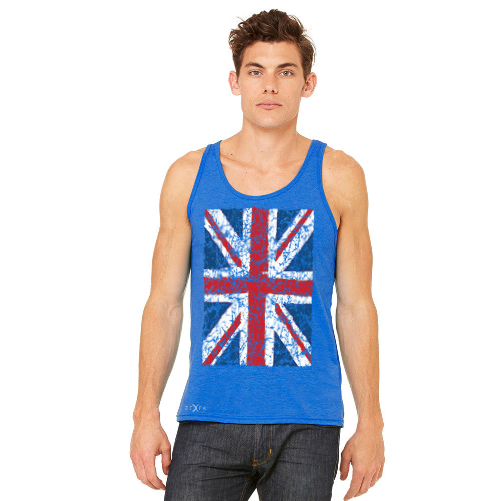 Distressed British Flag Great Britain Men's Jersey Tank Patriotic Sleeveless - Zexpa Apparel