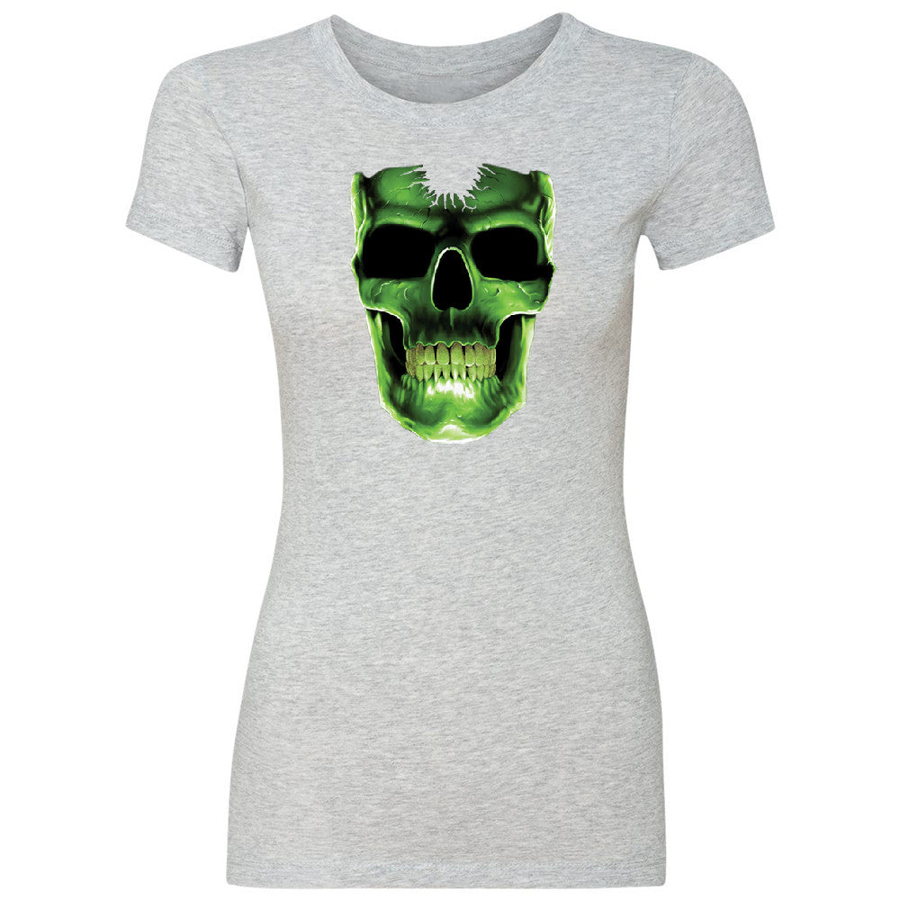 Skull Glow In The Dark  Women's T-shirt Halloween Event Costume Tee - Zexpa Apparel - 2