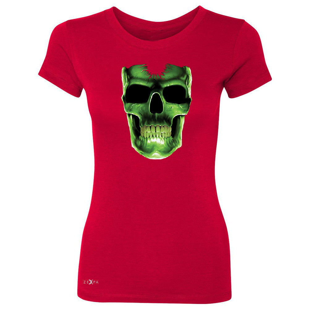 Skull Glow In The Dark  Women's T-shirt Halloween Event Costume Tee - Zexpa Apparel - 4