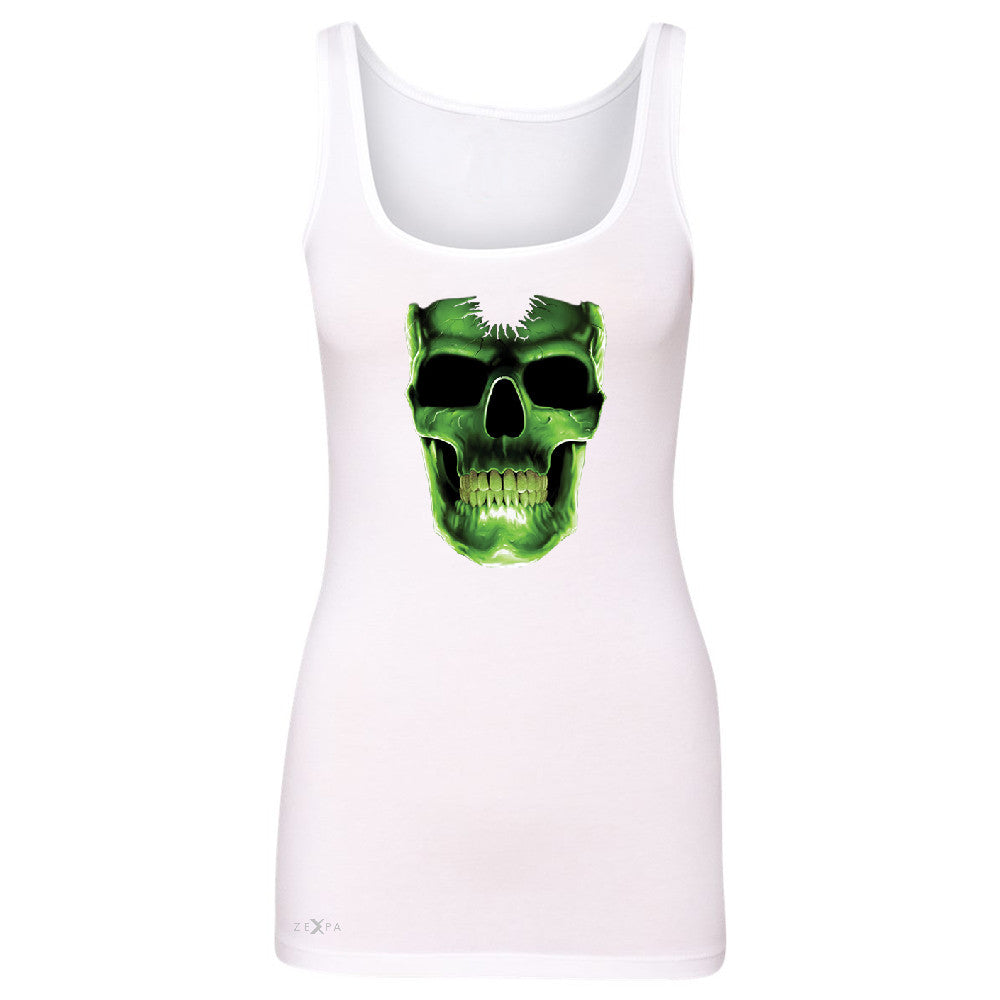 Skull Glow In The Dark  Women's Tank Top Halloween Event Costume Sleeveless - Zexpa Apparel - 4