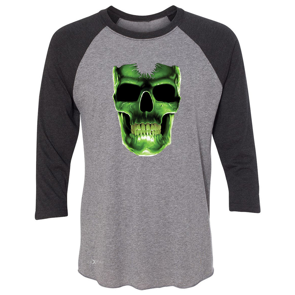 Skull Glow In The Dark  3/4 Sleevee Raglan Tee Halloween Event Costume Tee - Zexpa Apparel - 1