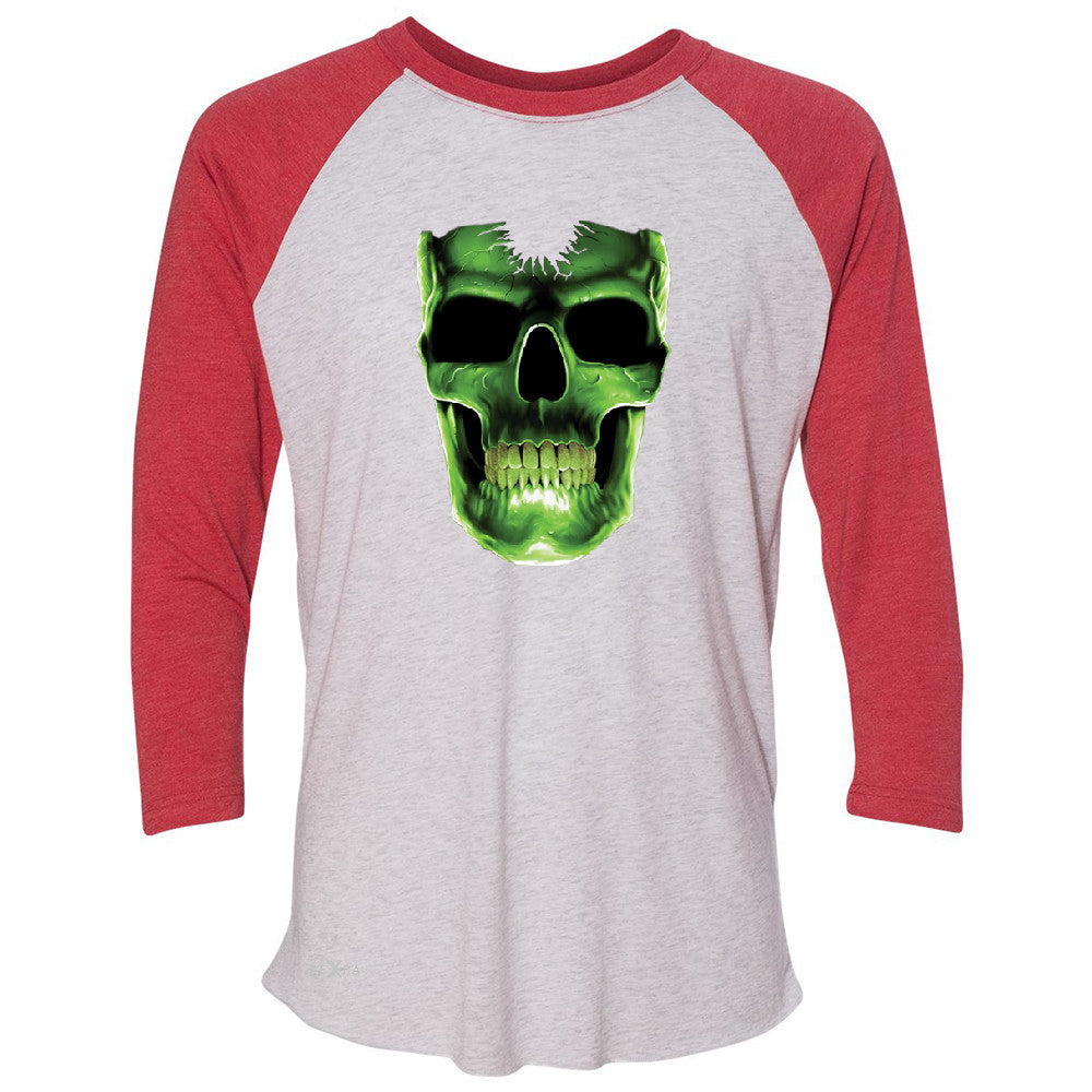 Skull Glow In The Dark  3/4 Sleevee Raglan Tee Halloween Event Costume Tee - Zexpa Apparel - 2