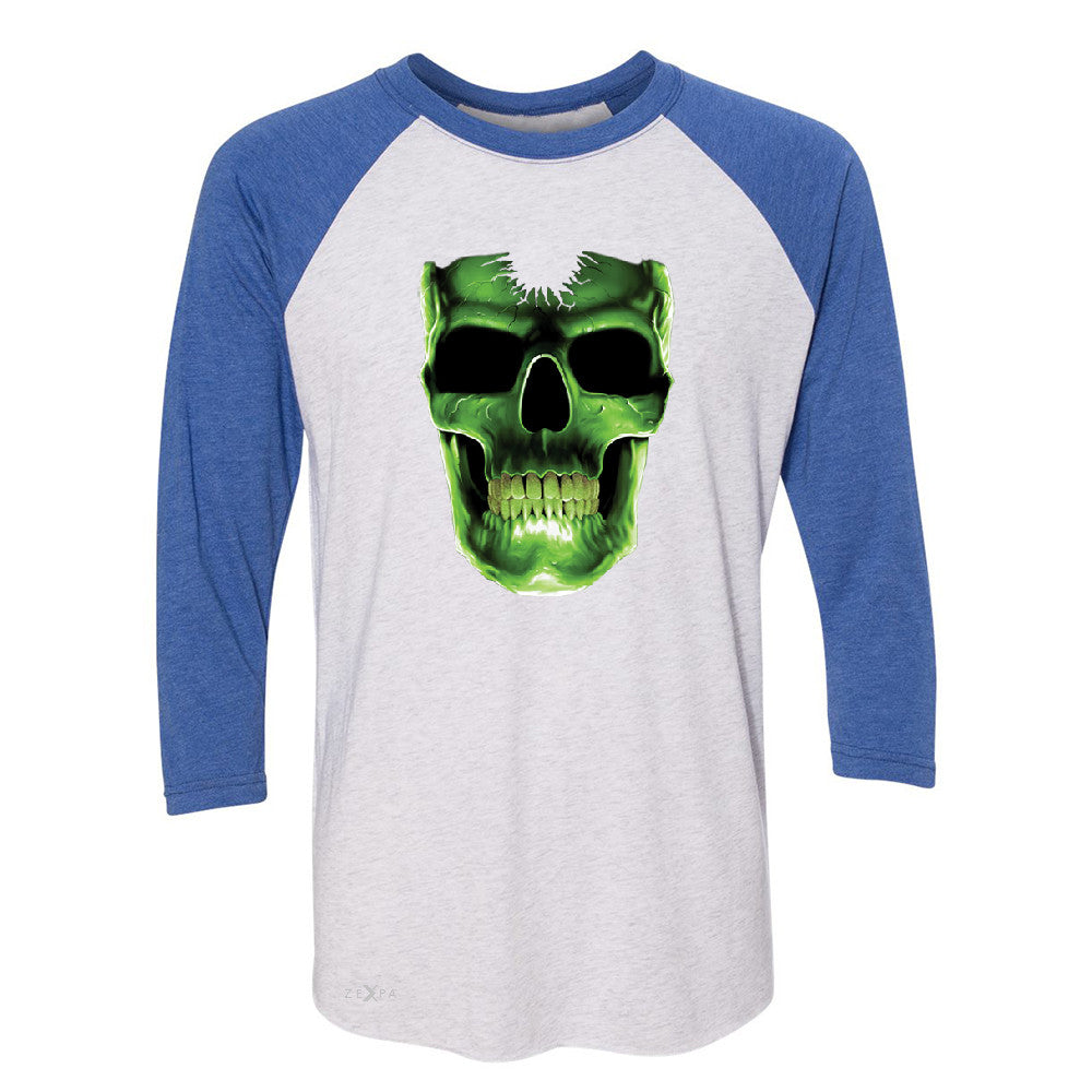 Skull Glow In The Dark  3/4 Sleevee Raglan Tee Halloween Event Costume Tee - Zexpa Apparel - 3