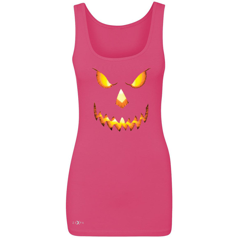 PUMPKIN Jack-o'Lantern Scary Costume Women's Tank Top Halloween NT Sleeveless - Zexpa Apparel - 2