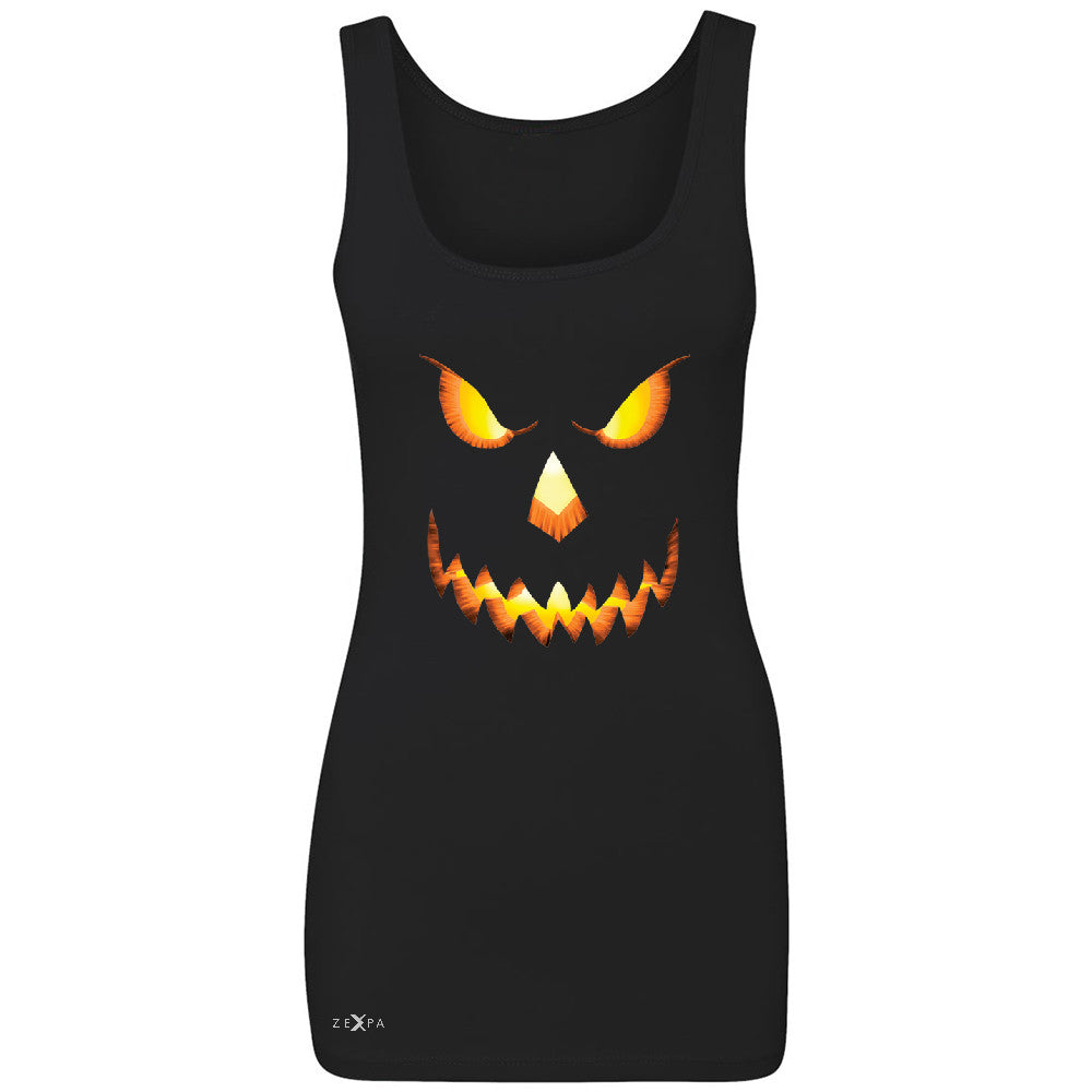 PUMPKIN Jack-o'Lantern Scary Costume Women's Tank Top Halloween NT Sleeveless - Zexpa Apparel - 1