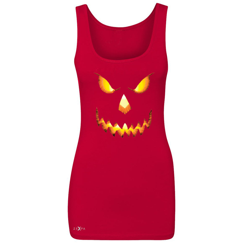 PUMPKIN Jack-o'Lantern Scary Costume Women's Tank Top Halloween NT Sleeveless - Zexpa Apparel - 3