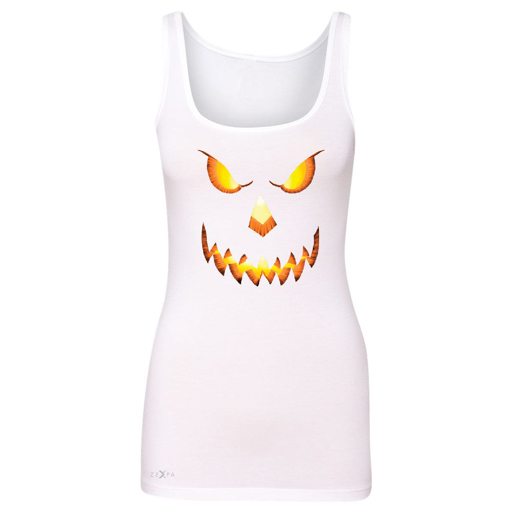 PUMPKIN Jack-o'Lantern Scary Costume Women's Tank Top Halloween NT Sleeveless - Zexpa Apparel - 4