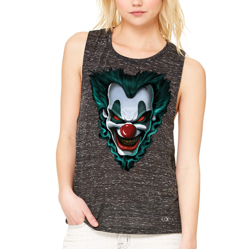 Freakshow Joker Clown Scary Women's Muscle Tee Halloween Eve Costume Tanks - Zexpa Apparel - 3