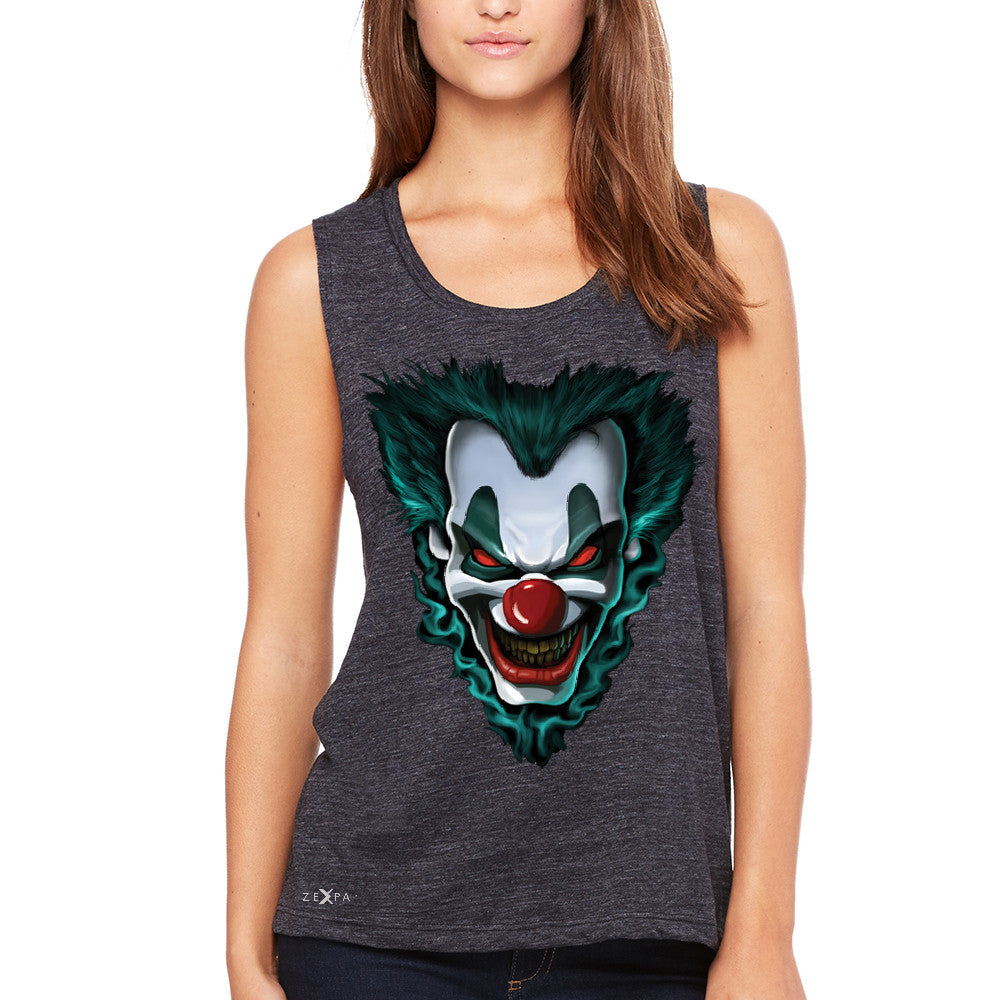Freakshow Joker Clown Scary Women's Muscle Tee Halloween Eve Costume Tanks - Zexpa Apparel - 1